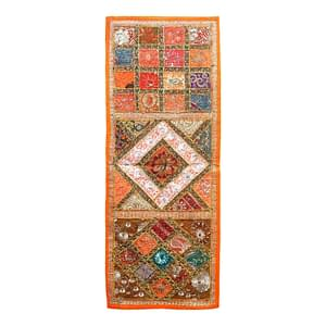 Indian Handmade Dining Table Runner Vintage Patchwork Sequin Cotton Ethnic Decor